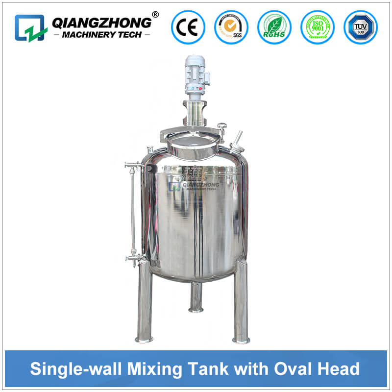 Single-layer Oval Top Mixing Tank